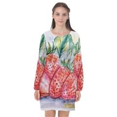 Strawberry Watercolor Figure Long Sleeve Chiffon Shift Dress