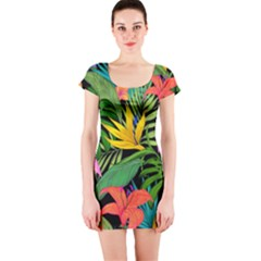 Tropical Greens Short Sleeve Bodycon Dress by Sobalvarro