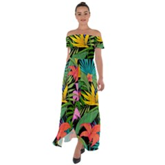 Tropical Greens Off Shoulder Open Front Chiffon Dress by Sobalvarro