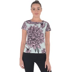 Flowers Short Sleeve Sports Top