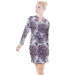 Flowers Button Long Sleeve Dress by Sobalvarro