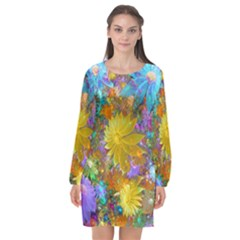 Apo Flower Power  Long Sleeve Chiffon Shift Dress  by WolfepawFractals