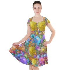 Apo Flower Power  Cap Sleeve Midi Dress by WolfepawFractals