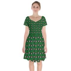 Retro Girl Daisy Chain Pattern Green Short Sleeve Bardot Dress by snowwhitegirl
