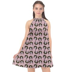 Retro Girl Daisy Chain Pattern Light Pink Halter Neckline Chiffon Dress  by snowwhitegirl