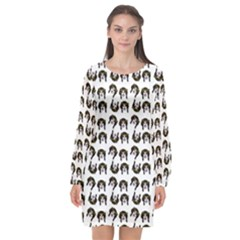 Retro Girl Daisy Chain Pattern White Long Sleeve Chiffon Shift Dress  by snowwhitegirl