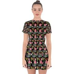 Vintage Can Floral Drop Hem Mini Chiffon Dress