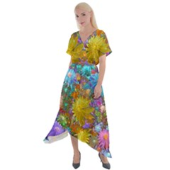 Apo Flower Power Cross Front Sharkbite Hem Maxi Dress by WolfepawFractals
