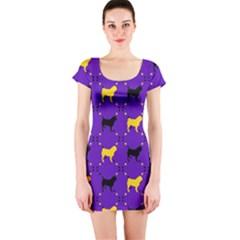 Elegant Pugs Short Sleeve Bodycon Dress