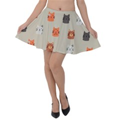 Cat Faces Pattern Velvet Skater Skirt by Vaneshart