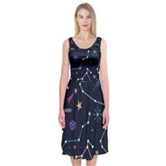 Space Wallpapers Midi Sleeveless Dress