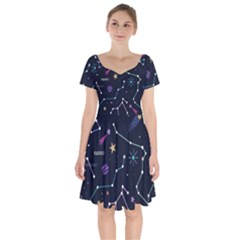 Space Wallpapers Short Sleeve Bardot Dress by Vaneshart