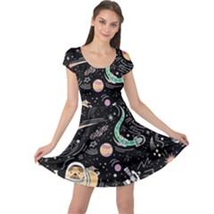 Animals Galaxy Space Cap Sleeve Dress