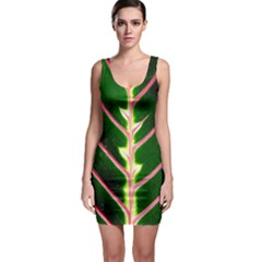 Exotic Green Leaf Bodycon Dress