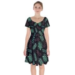 Tropical Leaves Pattern Short Sleeve Bardot Dress