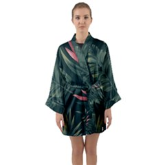 Tropical Flowers Pattern Tekstura Fon Background Pattern Long Sleeve Satin Kimono