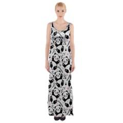 Panda Pattern Thigh Split Maxi Dress