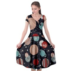 Space Galaxy Pattern Cap Sleeve Wrap Front Dress by Vaneshart