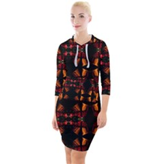 Christmas Bells Background Quarter Sleeve Hood Bodycon Dress