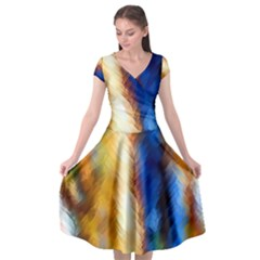 Abstract Paint Smears Cap Sleeve Wrap Front Dress by Vaneshart