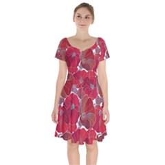Floral Pattern Background Short Sleeve Bardot Dress by Vaneshart