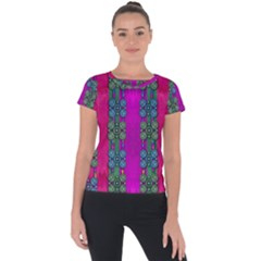 Flowers In A Rainbow Liana Forest Festive Short Sleeve Sports Top