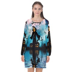 Funny Halloween Design With Skeleton, Pumpkin And Owl Long Sleeve Chiffon Shift Dress  by FantasyWorld7