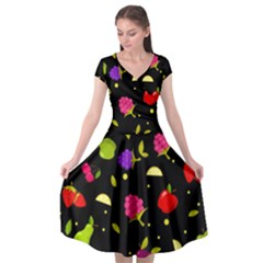 Vector Seamless Summer Fruits Pattern Colorful Cartoon Background Cap Sleeve Wrap Front Dress by Vaneshart