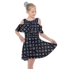 Memphis Seamless Patterns Kids  Shoulder Cutout Chiffon Dress by Vaneshart