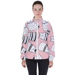 Cute Cats Cartoon Seamless Pattern Women s High Neck Windbreaker by Vaneshart