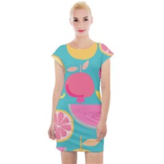 Seamless Pattern With Fruit Vector Illustrations Gift Wrap Design Cap Sleeve Bodycon Dress