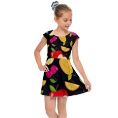 Vector Seamless Summer Fruits Pattern Black Background Kids  Cap Sleeve Dress by Vaneshart