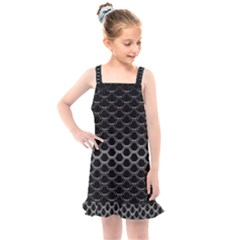 Black Metallic Hexagon Mesh Pattern Background Kids  Overall Dress by Vaneshart