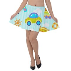 Transport Toy Seamless Pattern Velvet Skater Skirt