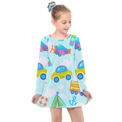 Transport Toy Seamless Pattern Kids  Long Sleeve Dress by Vaneshart