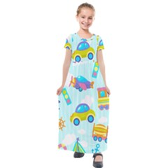 Transport Toy Seamless Pattern Kids  Short Sleeve Maxi Dress by Vaneshart