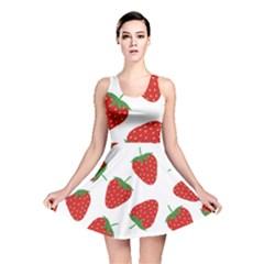 Seamless Pattern Fresh Strawberry Reversible Skater Dress by Vaneshart