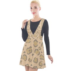 Leopard Print Plunge Pinafore Velour Dress by Sobalvarro