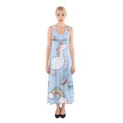 Unicorn Seamless Pattern Background Vector Sleeveless Maxi Dress by Sobalvarro