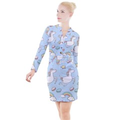 Unicorn Seamless Pattern Background Vector Button Long Sleeve Dress by Sobalvarro
