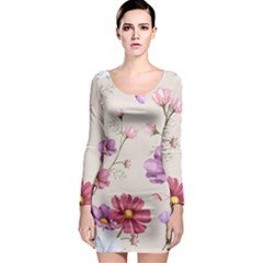 Vector Hand Drawn Cosmos Flower Pattern Long Sleeve Bodycon Dress by Sobalvarro