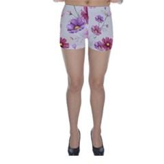 Vector Hand Drawn Cosmos Flower Pattern Skinny Shorts by Sobalvarro