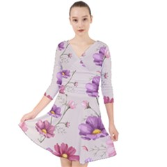 Vector Hand Drawn Cosmos Flower Pattern Quarter Sleeve Front Wrap Dress by Sobalvarro