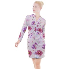 Vector Hand Drawn Cosmos Flower Pattern Button Long Sleeve Dress by Sobalvarro