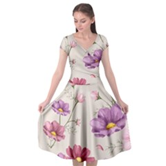 Vector Hand Drawn Cosmos Flower Pattern Cap Sleeve Wrap Front Dress