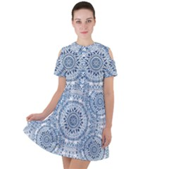 Boho Pattern Style Graphic Vector Short Sleeve Shoulder Cut Out Dress  by Sobalvarro