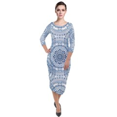 Boho Pattern Style Graphic Vector Quarter Sleeve Midi Velour Bodycon Dress by Sobalvarro