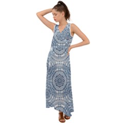 Boho Pattern Style Graphic Vector V Neck Chiffon Maxi Dress by Sobalvarro
