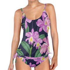Vector Hand Drawn Orchid Flower Pattern Tankini Set by Sobalvarro