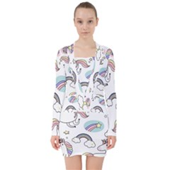 Cute Unicorns With Magical Elements Vector V Neck Bodycon Long Sleeve Dress by Sobalvarro